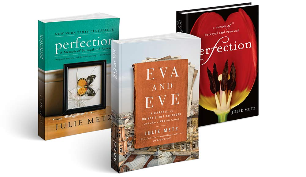 "Covers of two books by Julie Metz ""Eva and Eve"" and ""Perfection"""