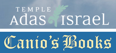 Temple Adas Israel and Canio's Books logos