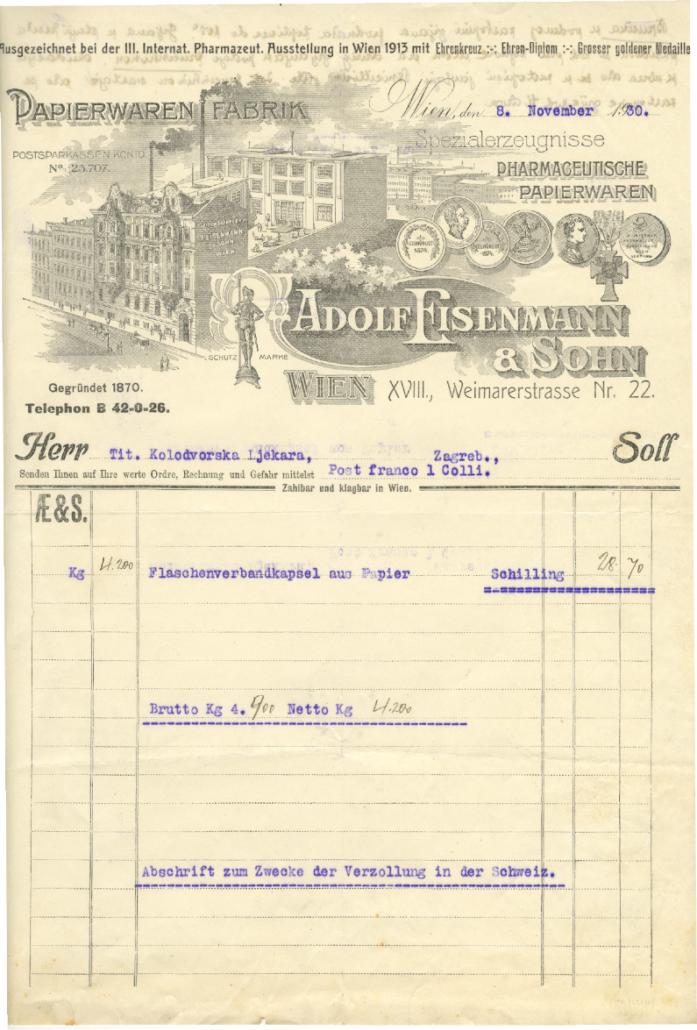 Adolf Eisenmann And Son Invoice