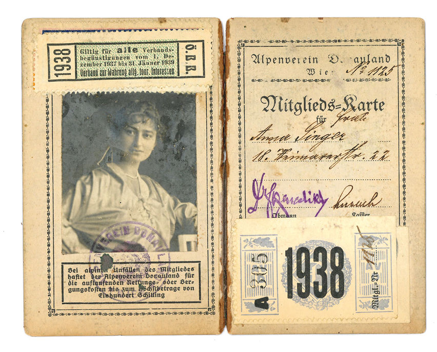 Jewish Mountaineering Club membership cards 1938